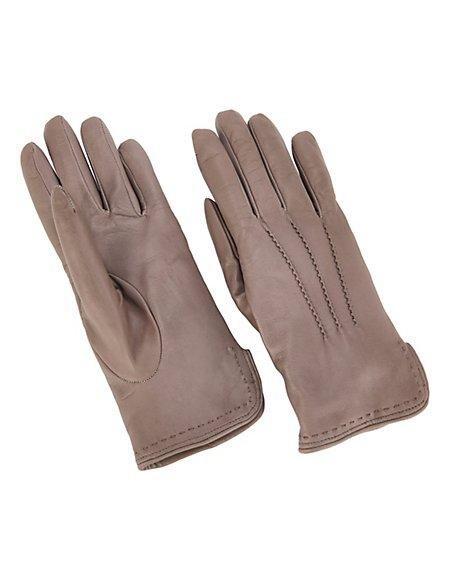 MADELEINE Leder-Handschuhe mit Wollfutter Damen dunkeltaupe / Neutraletöne