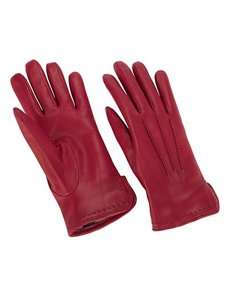 MADELEINE Leder-Handschuhe mit Wollfutter Damen bordeaux / rot