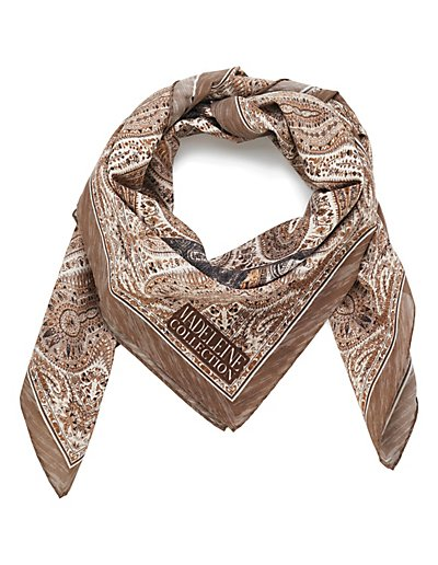 MADELEINE Soie Foulard femme taupe/multicolore / taupe