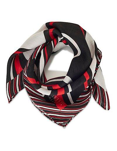 MADELEINE Soie Foulard femme noir/blanc/rouge / bleu