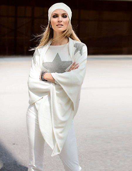 Dreiecks-Schal aus Wolle Damen wollweiss / weiss