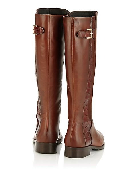 d2f1aa608e50ed Leder-Stiefel mit Elastik-Einsatz