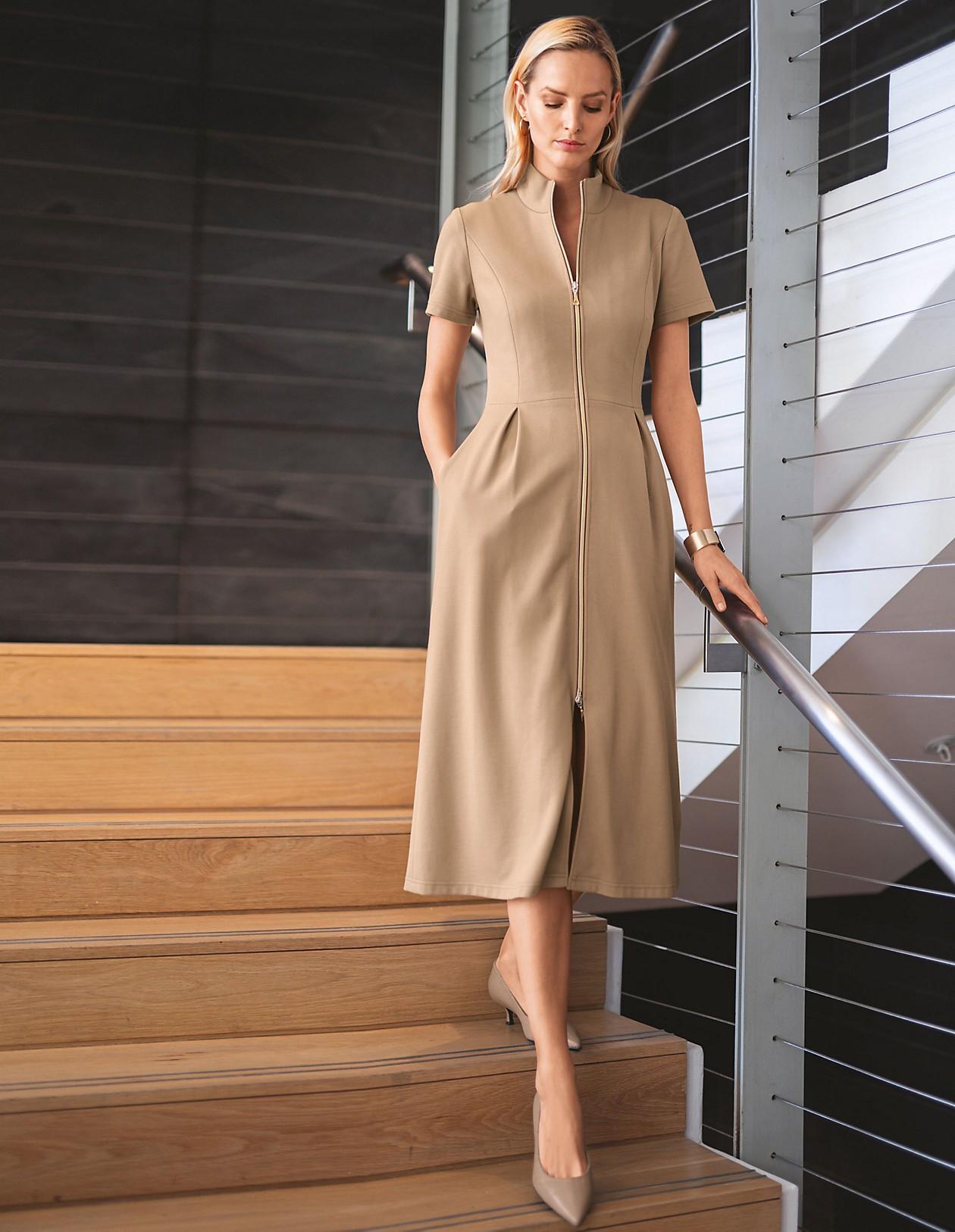 elegantes kleid mit taschen, caramel, hellbraun   madeleine mode