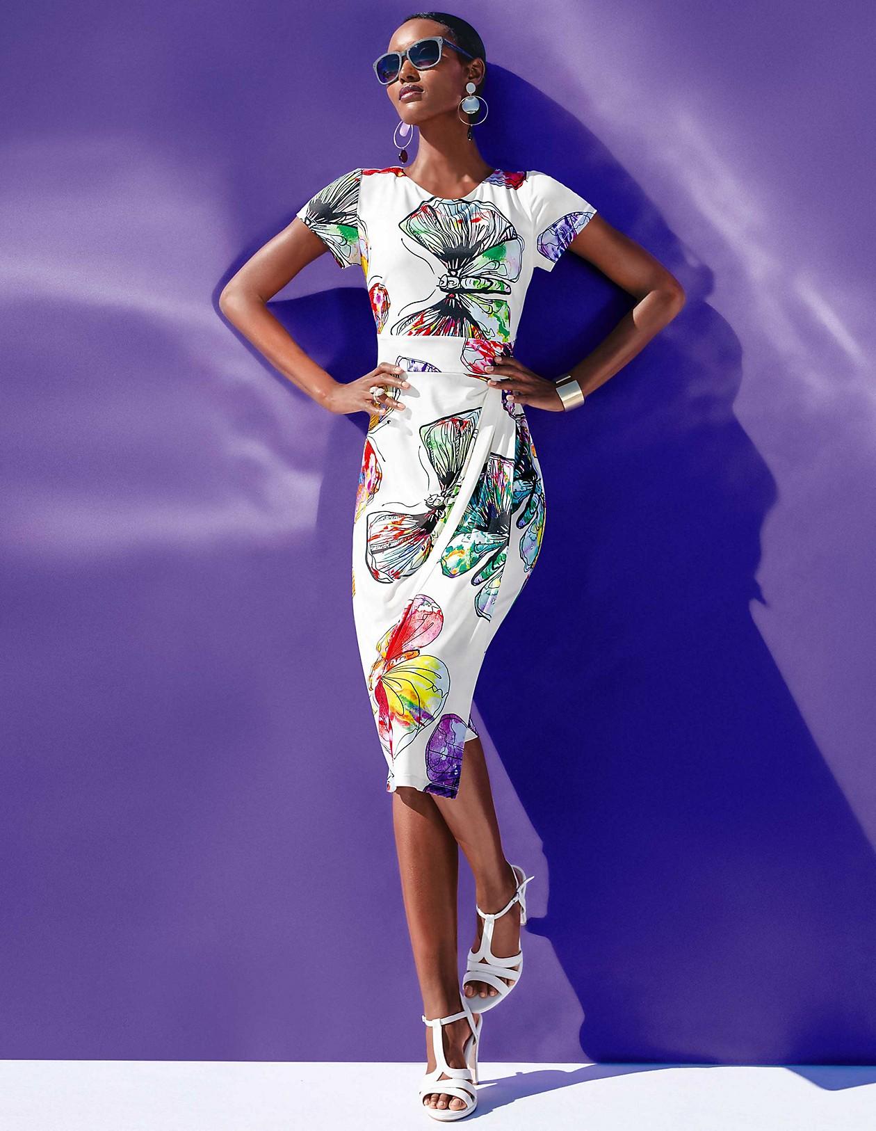Schlankes Kleid mit trendigem Schmetterlingsprint, weiß/multicolor